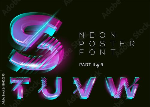 Vector Neon Typeset  Shining Trendy Letters  Fluorescent