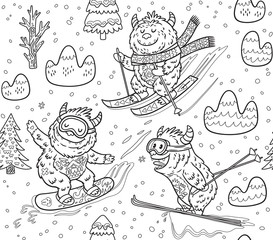 Black and white yeti skiing in the mountain seamless pattern. Vector illustration