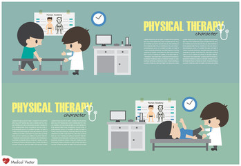 Physical Therapy Center . Physiotherapist rehabilitate disabled patient in hospital . Vector