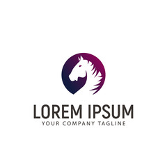 head circle horse logo design concept template
