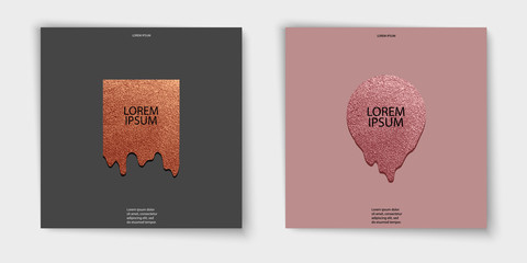 Modern and stylish minimal design. Copper glossy background. Metallic texture. Bronze metal texture. Rose quartz pattern .