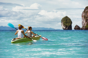 Kayaking kayak concept tropical beach