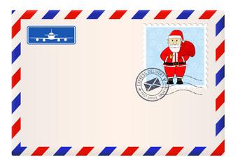 Envelope with Santa Claus stamp. Blank international mail envelope