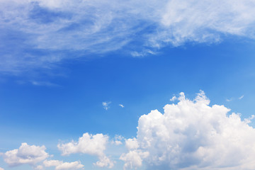 blue sky with clouds in summer season.