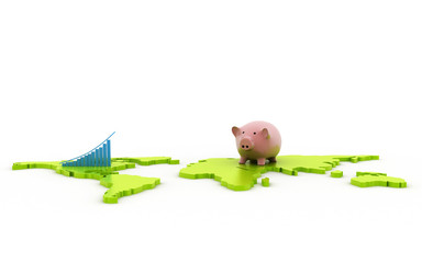 3d rendered Piggy business concept isolated on white background