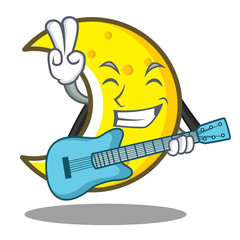 With guitar crescent moon character cartoon