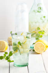 Lemonade from lemons, mint with gasiron water..