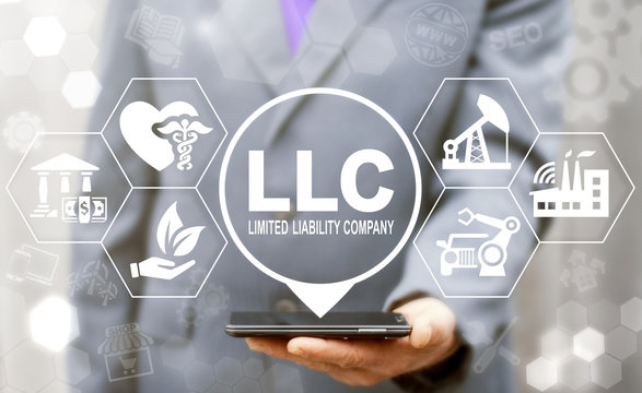Limited Liability Company (LLC) Business Industry Healthcare concept. Man offers smartphone with limited liability company text icon on a virtual interface.