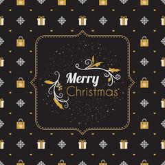 Vintage Christmas greeting card. Typographic retro design on seamless background. Vector Illustration