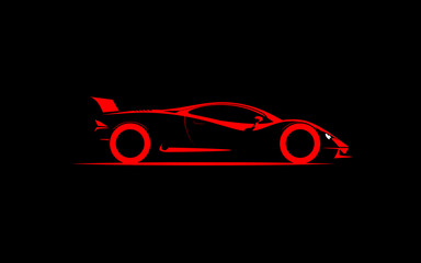 stylized simple drawing sport super car coupe side