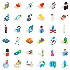 Sportsman icons set, isometric style