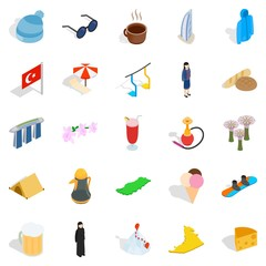 Relaxing place icons set, isometric style