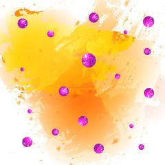Textured paint splash yellow background and glittering pink balls.