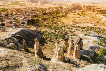 Basalt and tuff mushrooms near Cavusin town in Cappadocia, Turkey