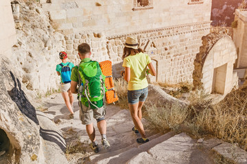 Multicultural friends travel at old ancient anatolian town in Cappadocia, Turkey