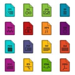 File format icons doodle set