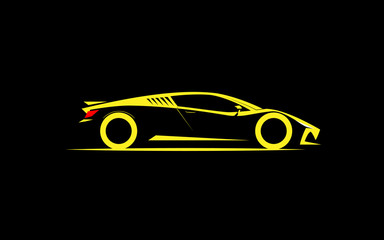 stylized simple drawing sport super car coupe side view