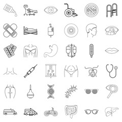 Hospital icons set, outline style