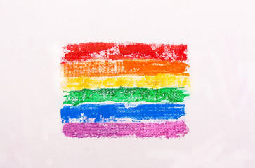 Rainbow flag painted . The LGBT Symbol
