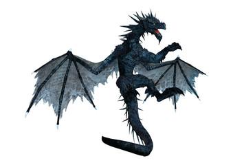 3D Rendering Black Dragon on White