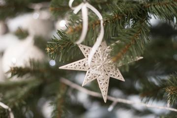 white fur-tree toys on the Christmas tree