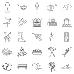 Vegetable food icons set, outline style