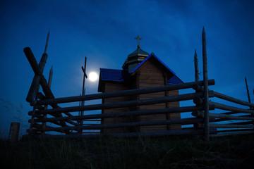 Mystery church over moon light