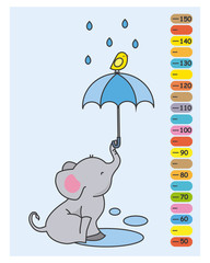 child meter. Elephant with umbrella in the rain and little bird on top