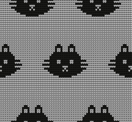 knitted seamless pattern with cats