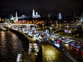 night time city moscow kremlin traffic river