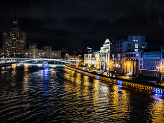 night time city moscow kremlin traffic bridge over the river