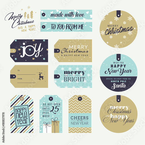 set of christmas and new year gift tags flat design style vector illustration templates for