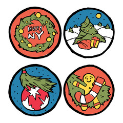 Set of Christmas and New Year emblems