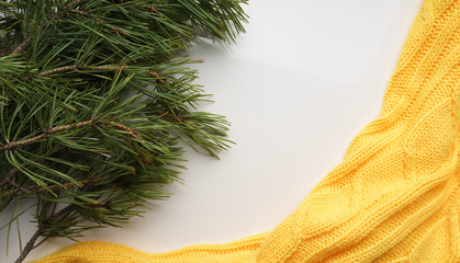 Christmas background with branches of pine with large needles and a yellow sweater. Top view close-up