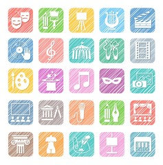 Culture and art, icons, colored, vector, shading with a pencil. Different types of art and cultural activities. White icons on a colored shaded field.