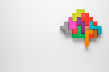 Human brain is made of multi-colored wooden blocks. Creative business concept.