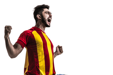 Athlete / fan on yellow and red uniform celebrating on white background