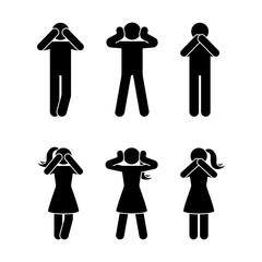 Stick figure set of three wise monkeys pictogram. See no evil, hear no evil, speak no evil concept icon