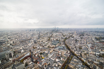 Paris, France - November, 2017. Areal view of Paris with Eiffel tower in the distance