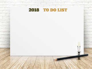 2018 to do list on white paper poster on white marble room wall,Business presentation mock up for adding your list.