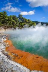 Champagne Pool hot lake in Waiotapu, Rotorua, New Zealand