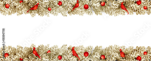 detailed realistic gold christmas garland xmas border with fir