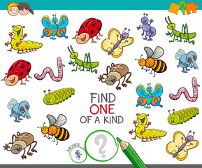 one of a kind game with insect animals