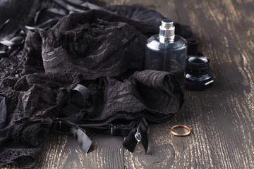 Dark lacy lingerie womens underwear on black background