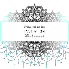 Wedding invitation or card , intricate mandala with beads background. Black and cyan blue on white design, Islam, Arabic, Indian, Dubai background, fashion design with place for text