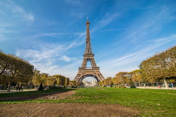 Paris, France - November, 2017. Eiffel tower on sunny day. Paris Best tourist Destinations in Europe