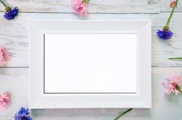 Frame mockup with fallen flowers