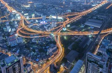Bangkok Cityscape Expressway and Highway top view at night, Thai