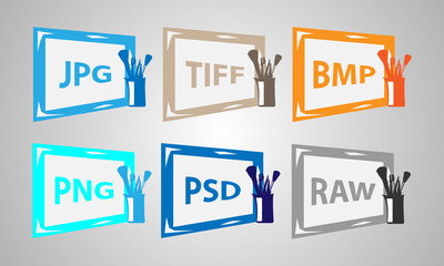 Set of image formats icons. Vector elements.