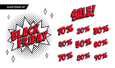 Black Friday sale set. Black friday and sale inscription and all percent numbers. Black and red colors. Pop-art comics style web banner, flash animation.